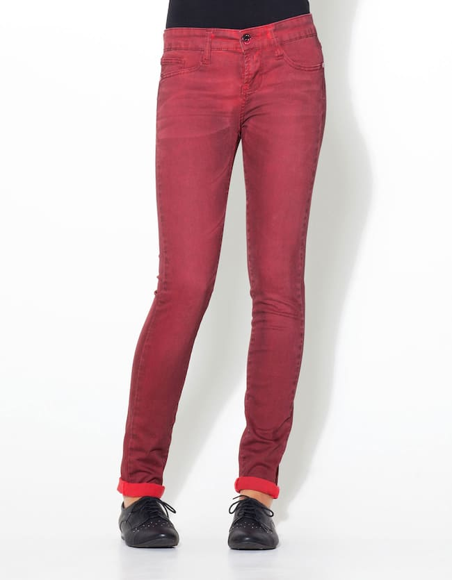 Coloured skinny trousers