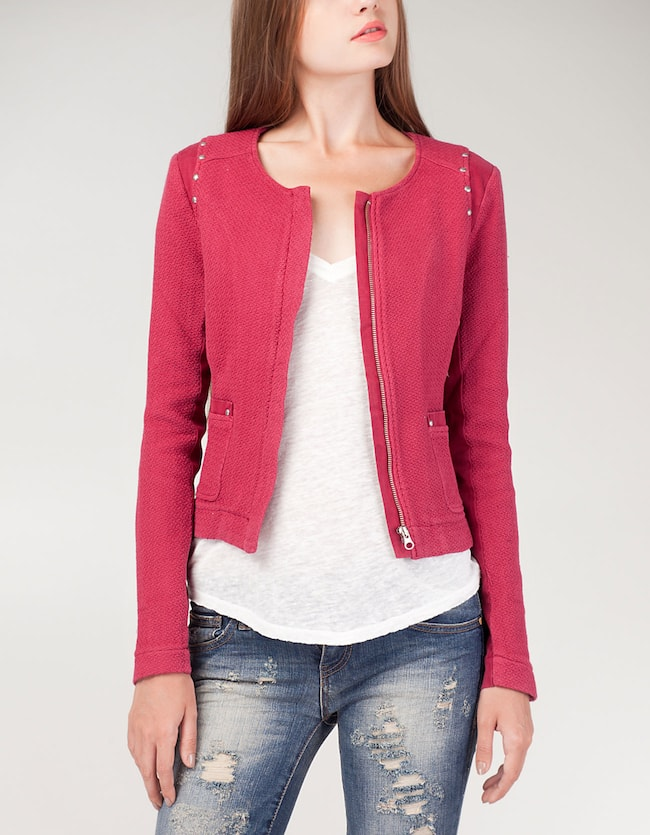 Two-fabric jacket with studs