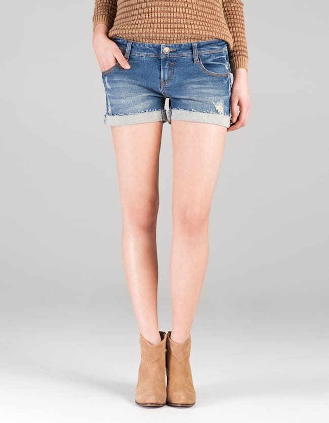 Denim shorts with plait trim
