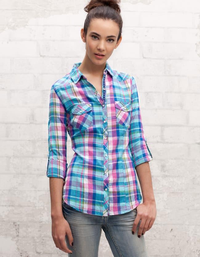 Camisa xadrez com bolsos