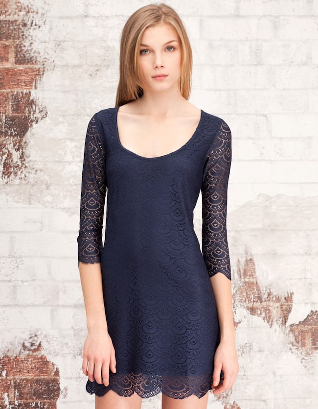 Three quarter sleeve dress with lace edging