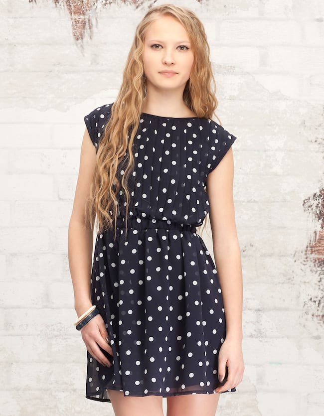 Pleated dress with polka dot print