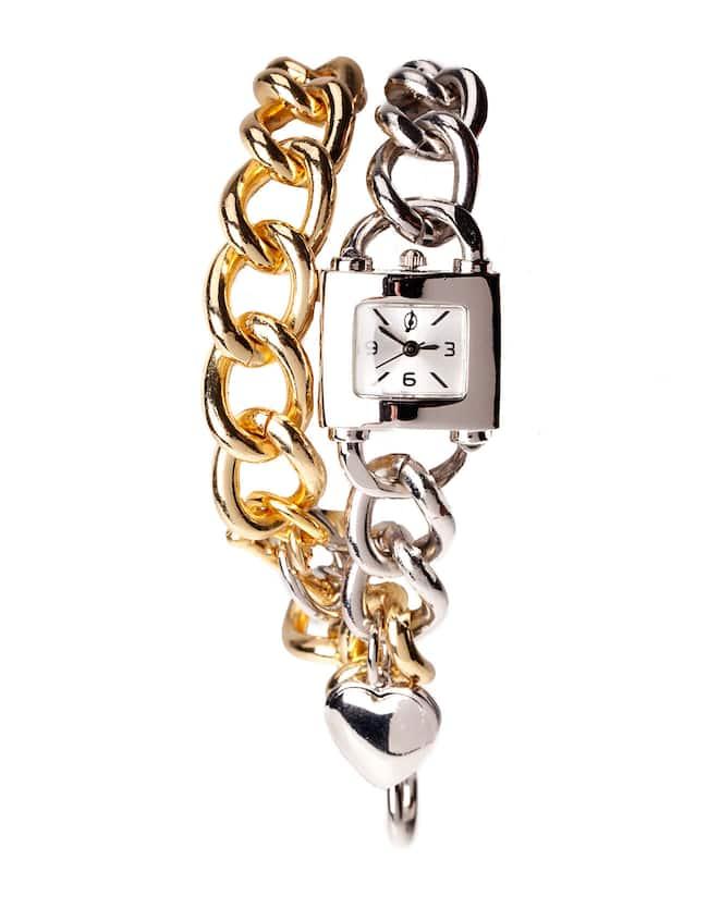 Relógio de mostrador quadrado com correntes