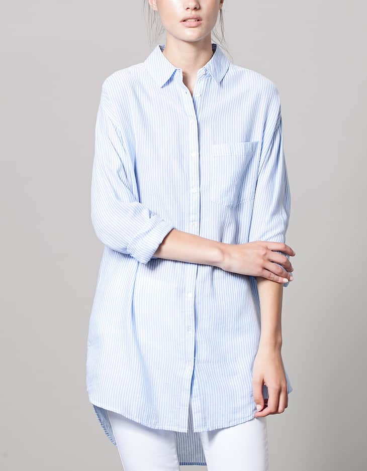 Long striped shirt with knot detail