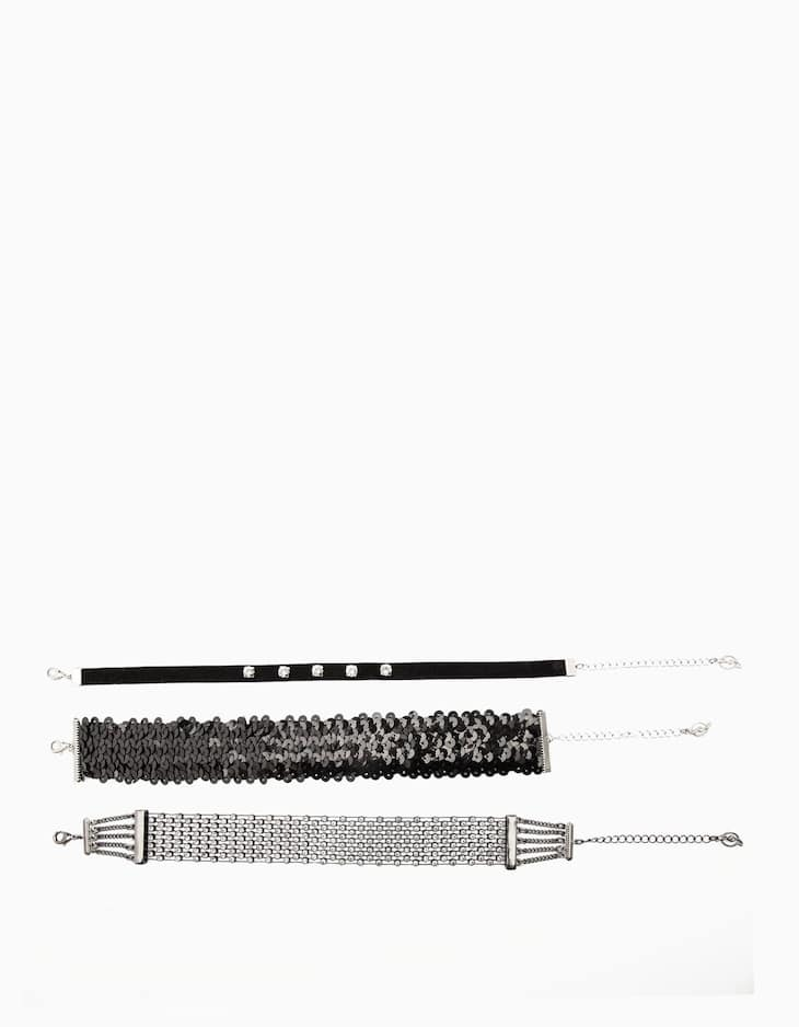 Set of 3 sequinned chokers