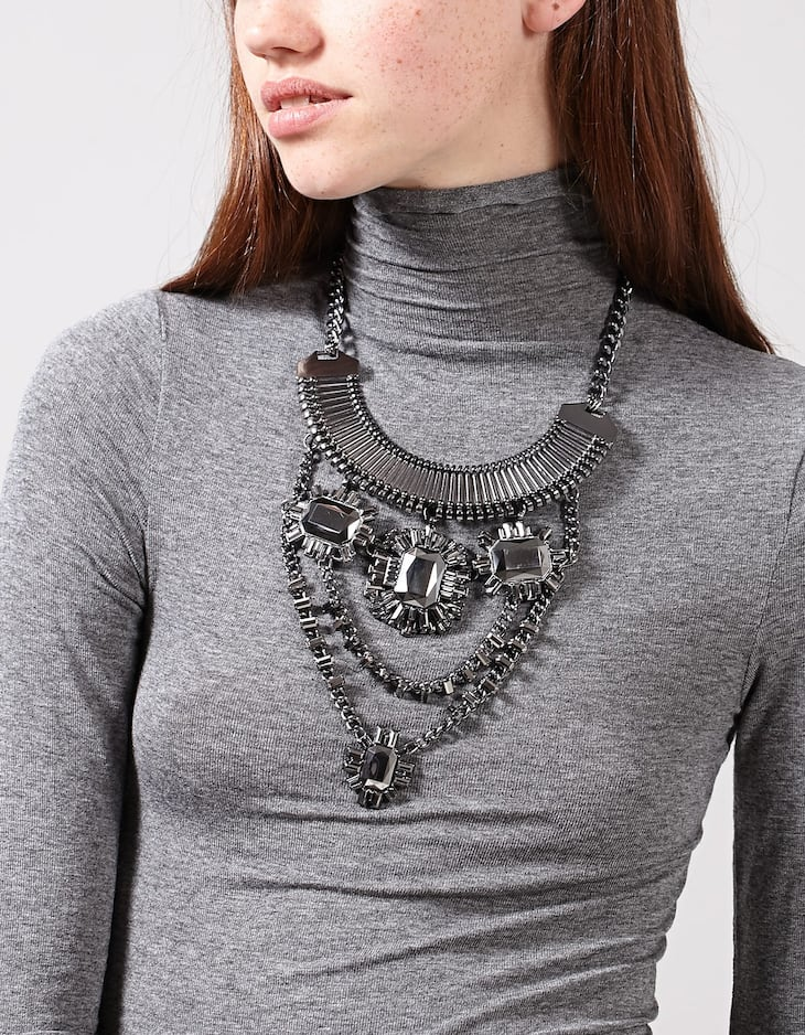 Large jewelled chain necklace