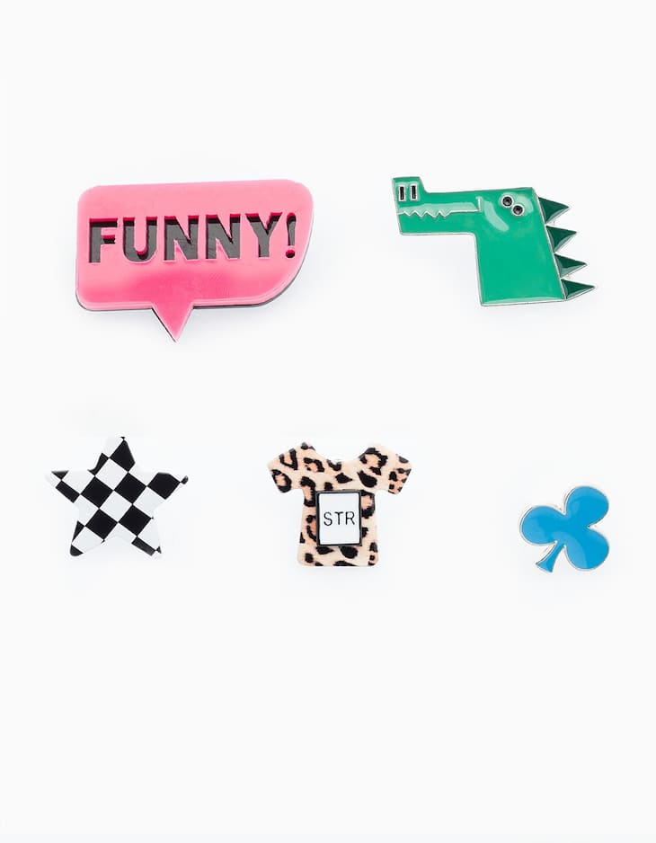 Set of 5 funny pins