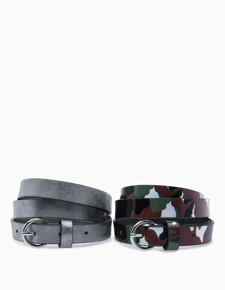 Camouflage and silver belt set