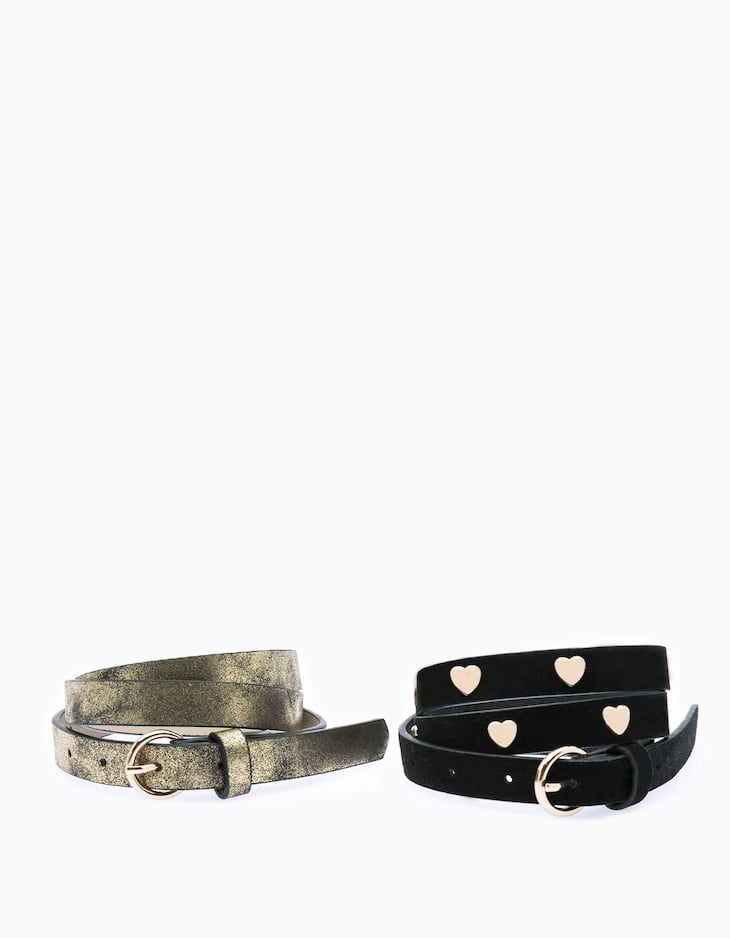 Set of 2 belts with hearts and metallised