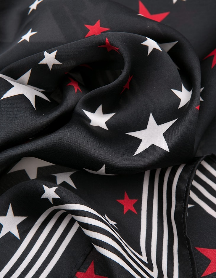 Silk effect star print neck scarf