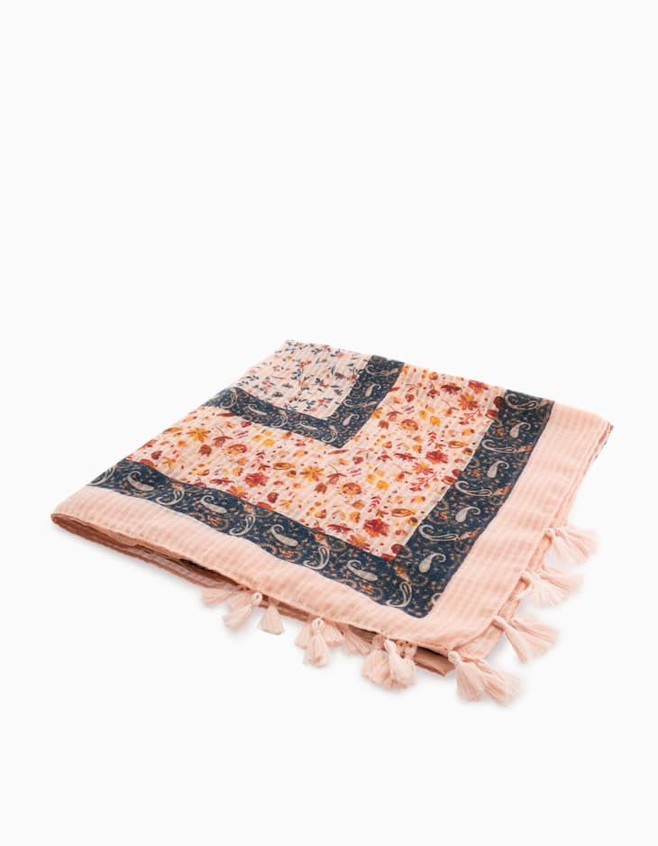 Floral print patchwork neck scarf