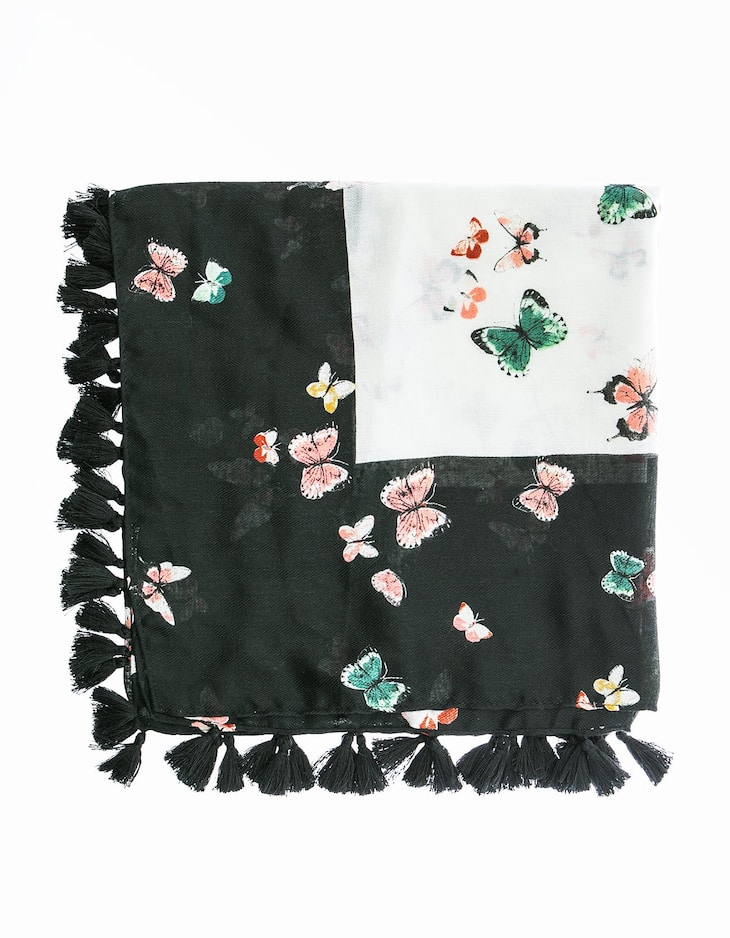 Two Tone Butterfly Neck Scarf