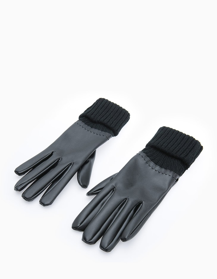Leather look gloves with backstitching trim