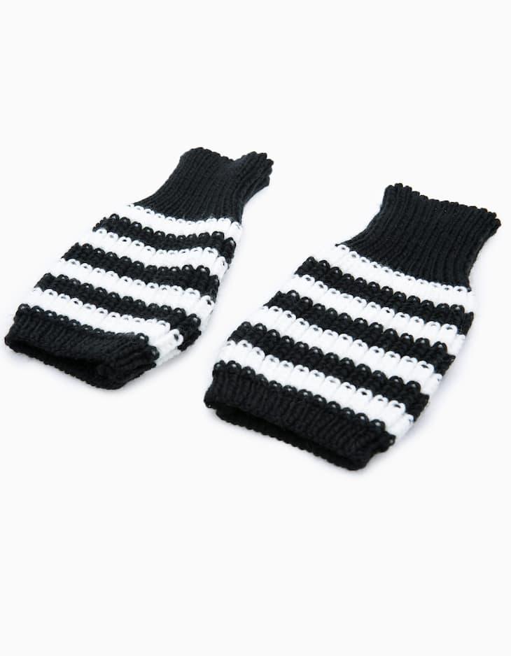 Striped tricot fingerless gloves