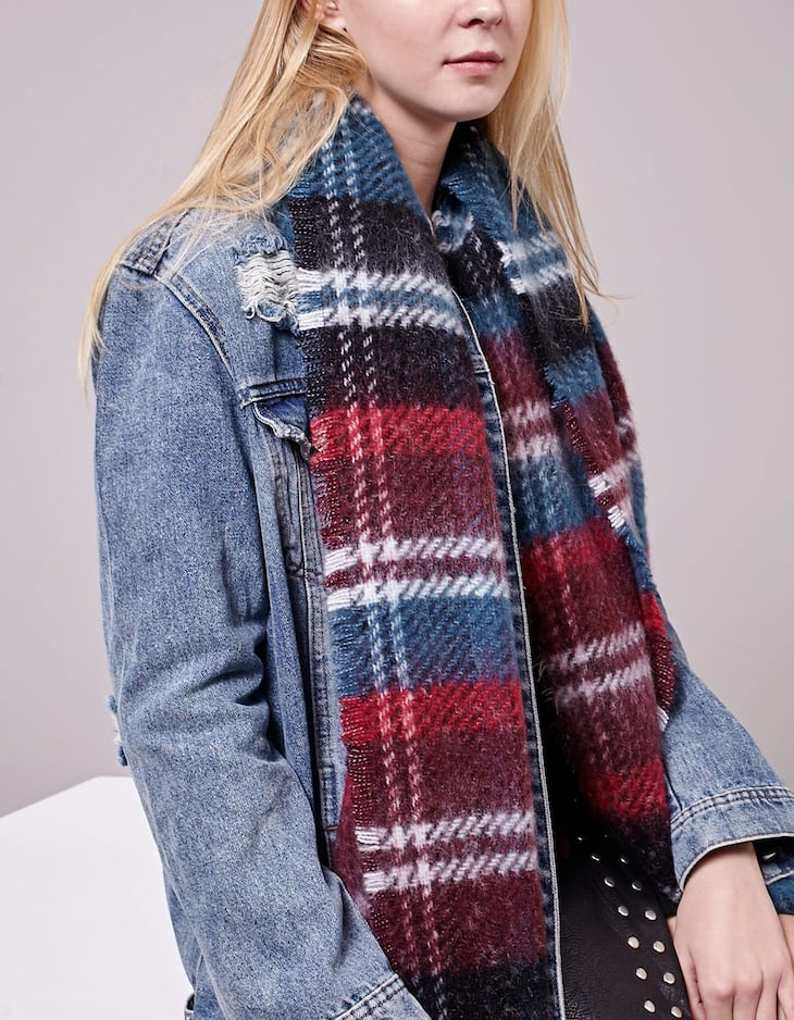 Brushed petrol blue striped scarf