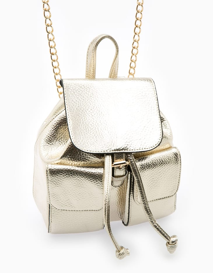 Mini backpack with chain detail