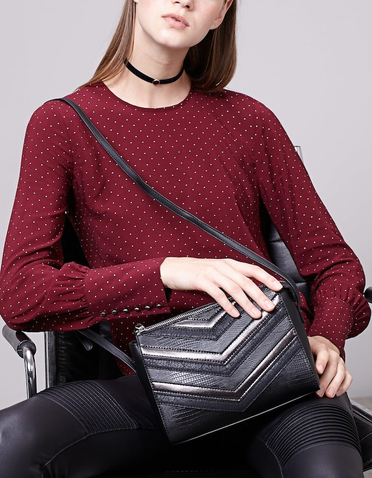 Micro bolso satchel patchwork
