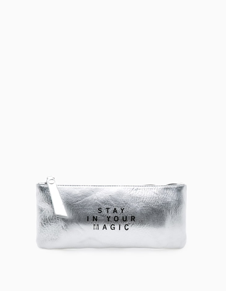 Cosmetics bag with message text