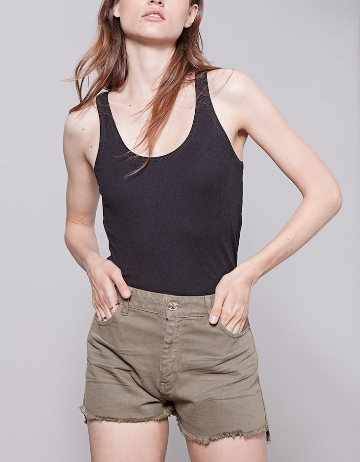 Ribbed racer back top