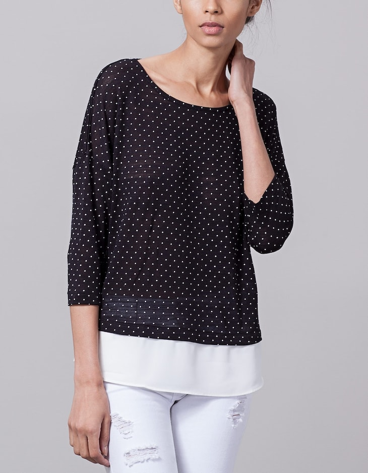 Combined polka dot top