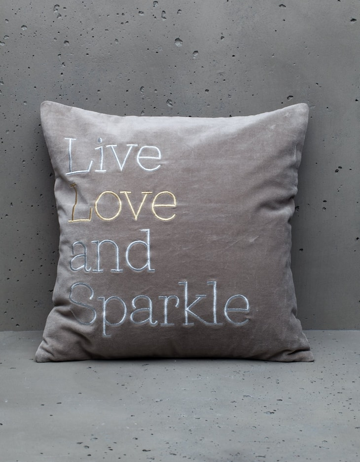 Live, Love and Sparkle cushion cover