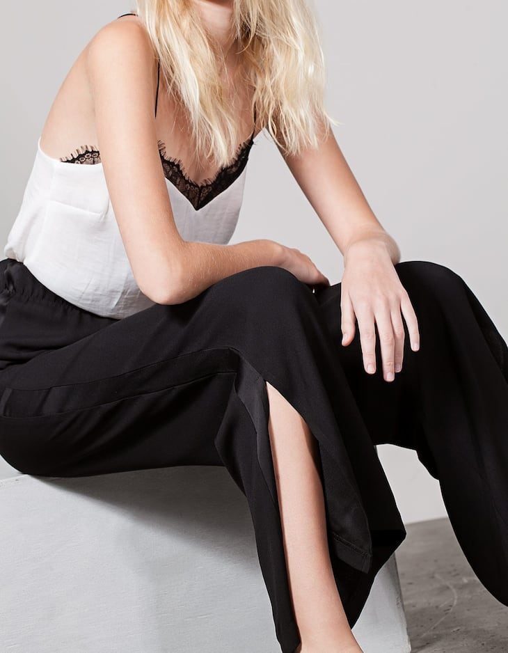 Palazzo trousers with satin band detail