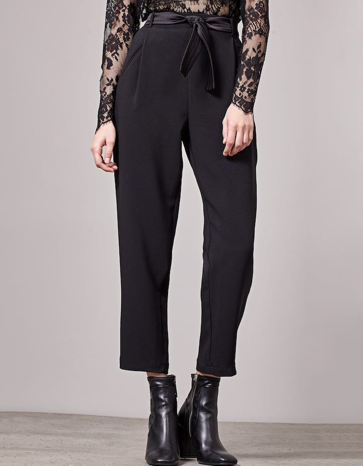 Belted satin trousers
