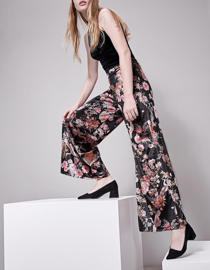 Print velvet trousers
