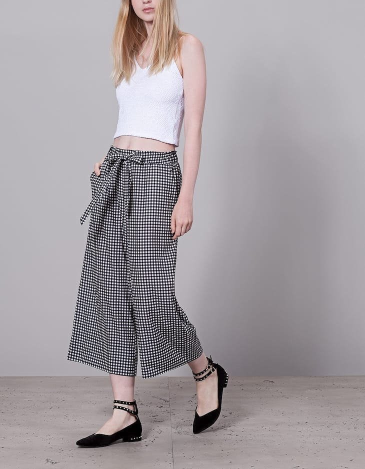 Gingham check culottes