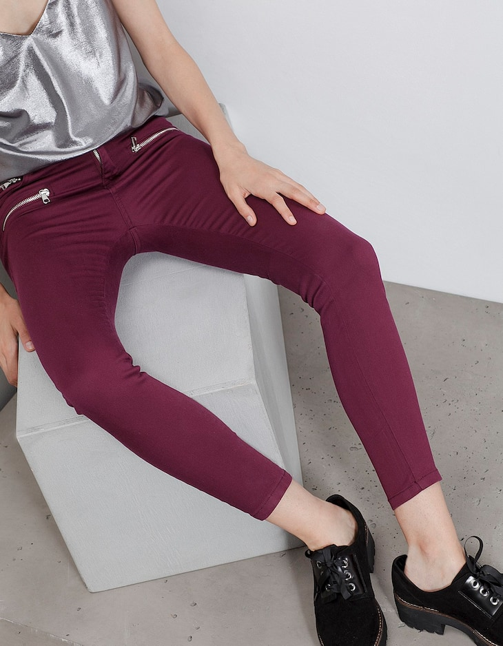 Skinny fit trousers with zip detail