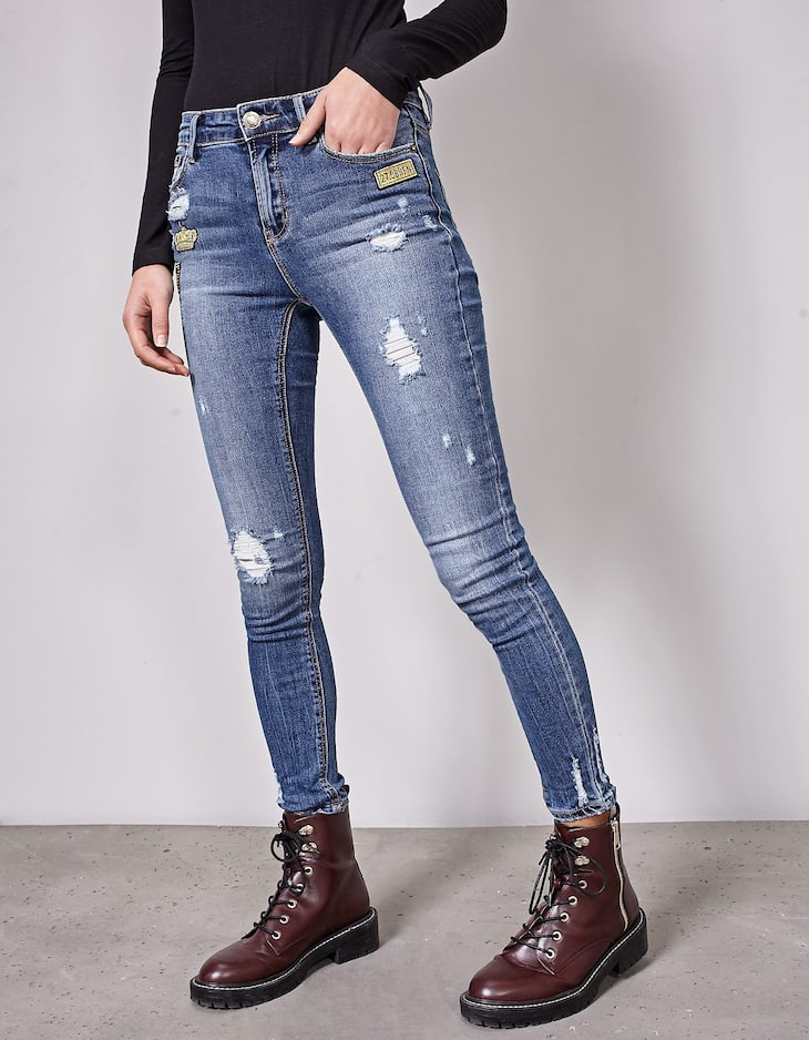 Skinny fit military jeans