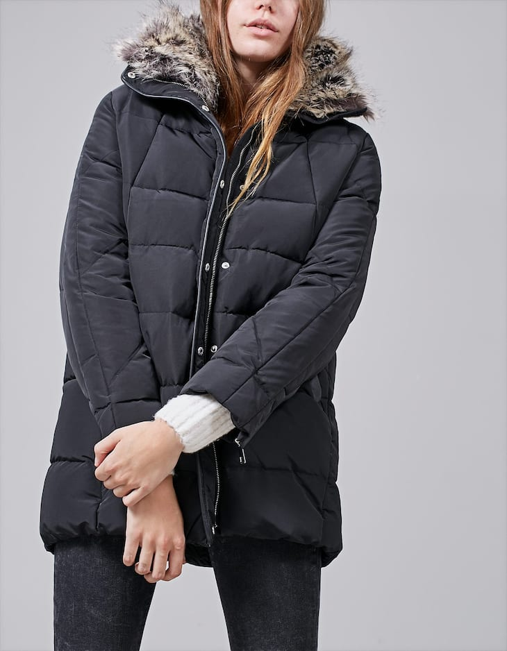 Puffer coat with fur and leather look trims