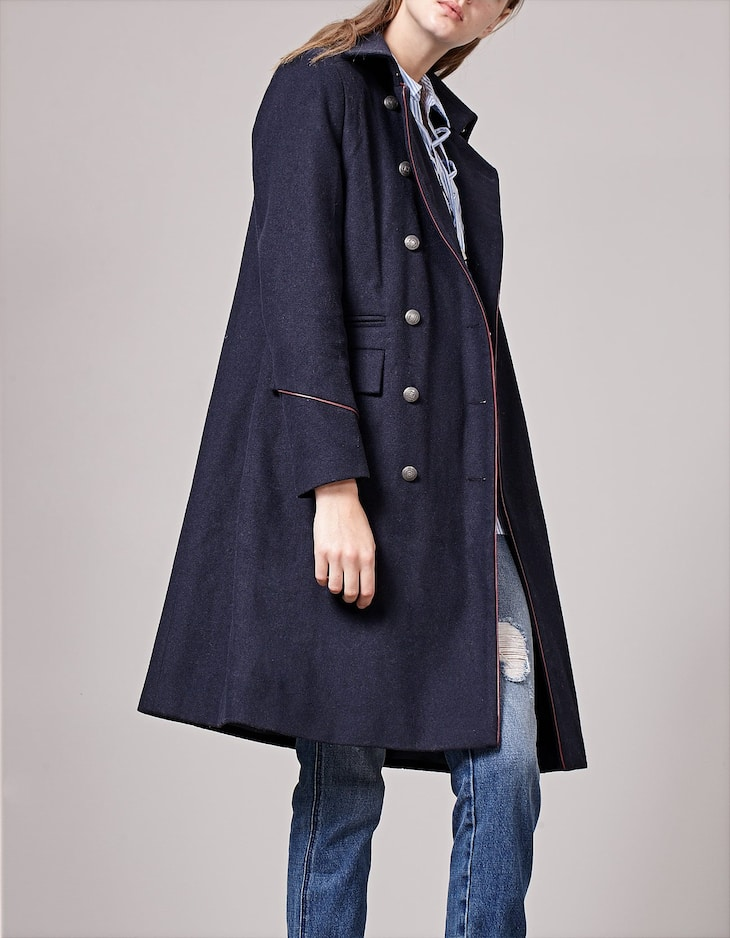 Military-style coat with piping detail
