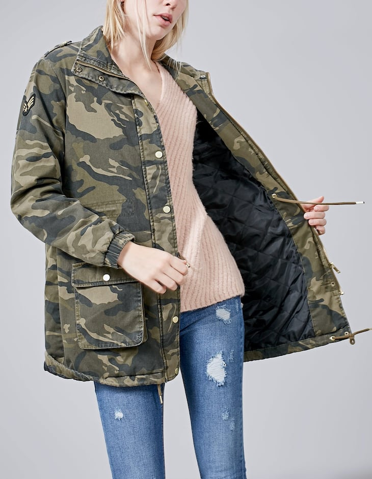 Camouflage print parka with patch detail