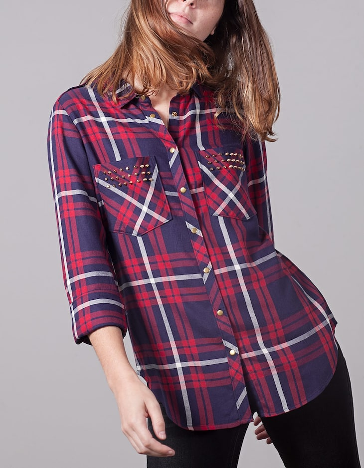 Checked shirt with stud detail
