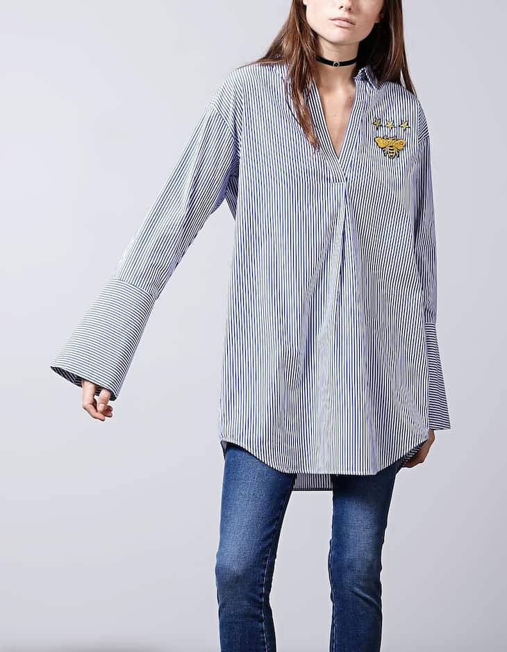 Poplin shirt with patch detail