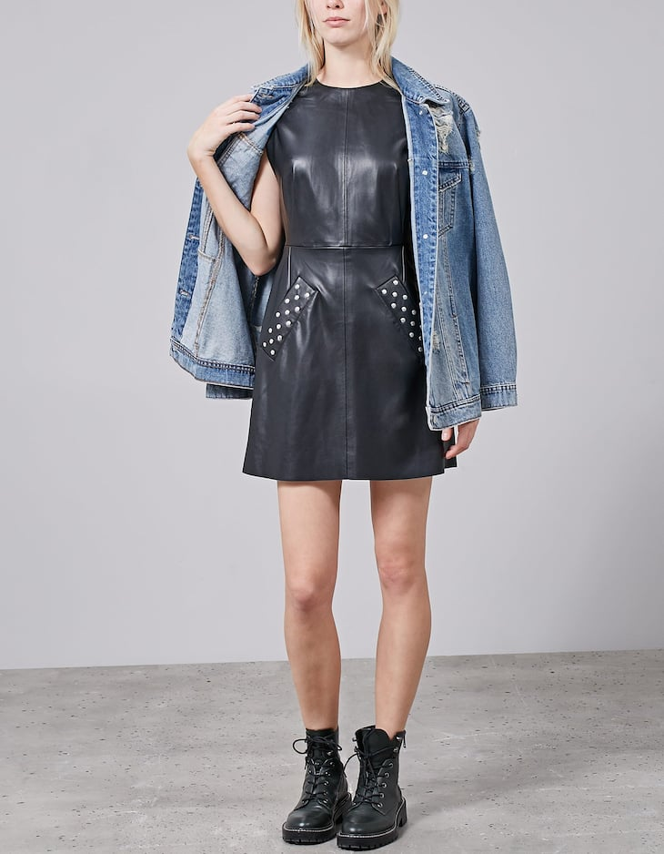 Leather look dress with stud detail