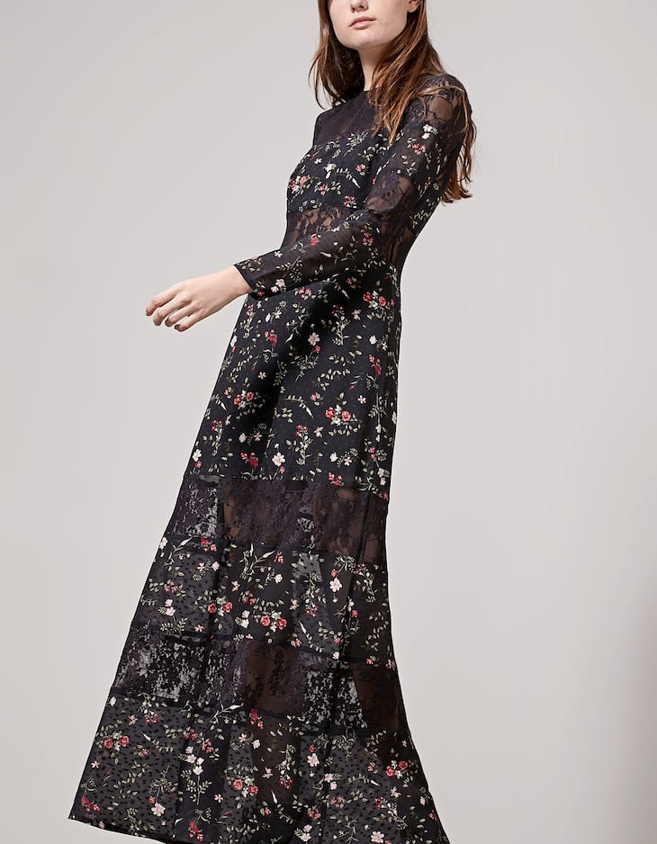 Long dress with lace trim