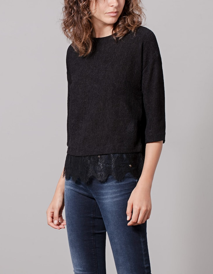 Top with lace hem detail