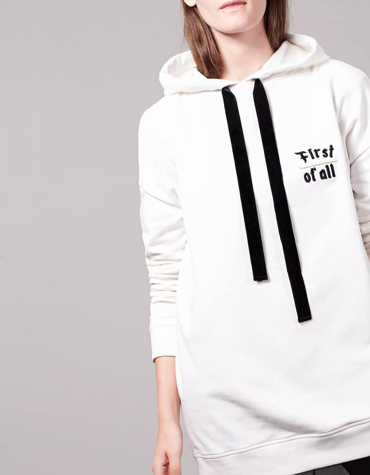 Oversize hooded sweatshirt with embroidery detail