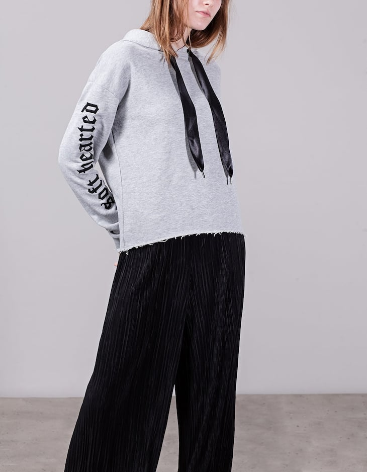 Hooded sweatshirt with embroidery detail