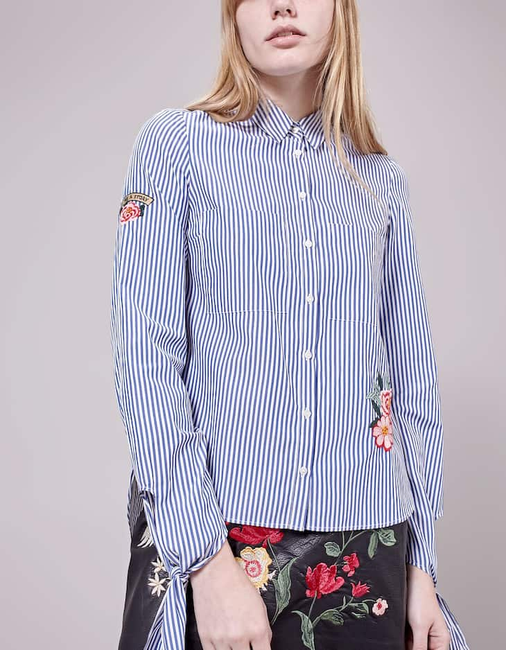 Embroidered shirt with tie detail