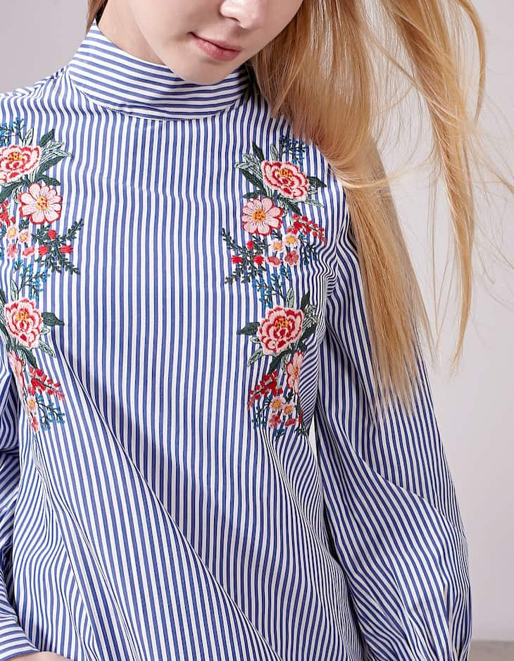 Embroidered shirt with Perkins collar
