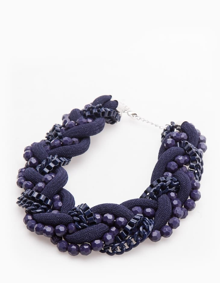 Bead and cord necklace