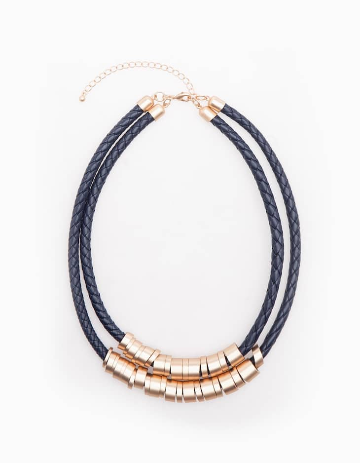 Leather look ring necklace