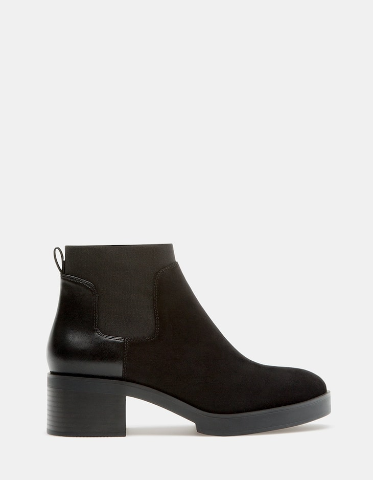 Elasticated flat ankle boots