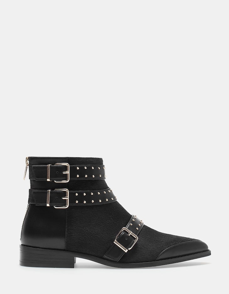 Faux-fur ankle boots with buckle detail