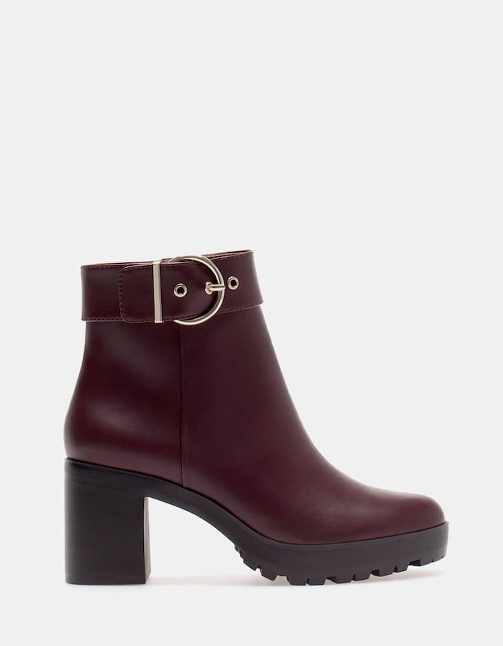 Track ankle boots with buckle detail
