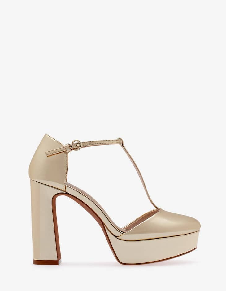 Metallised platform sandals
