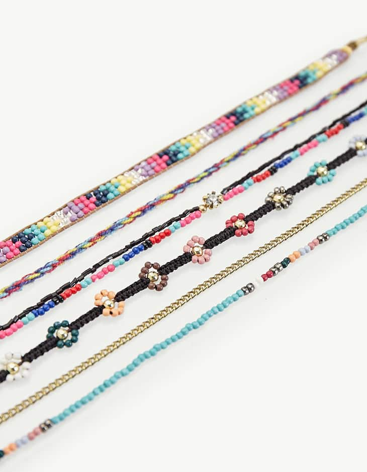 Set of 6 small bead choker necklaces